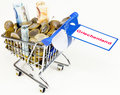 Greece aid lot of money in shopping trolley Stock Images