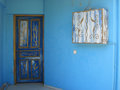 Greece architecture detail door in blue color is typical for parts of buildings Royalty Free Stock Images
