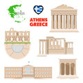 Greece Athens Travel Set with Architecture and Flag Royalty Free Stock Photo