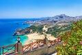 Greece beaches of rhodes island beautiful tsambika Stock Photos