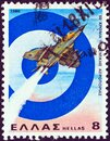 GREECE - CIRCA 1980: A stamp printed in Greece shows a Dassault Mirage III Jet Fighter and Greek Air Force emblem, circa 1980. Royalty Free Stock Photo