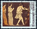 GREECE - CIRCA 1983: A stamp printed in Greece shows Odysseus slaying suitors, circa 1983. Royalty Free Stock Photo