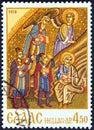 GREECE - CIRCA 1970: A stamp printed in Greece shows the three magi, circa 1970. Royalty Free Stock Photo