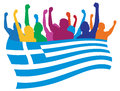 Greece fans illustration Stock Photo