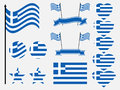Greece flag set. Collection of symbols, flag in heart. Button and star. Vector Royalty Free Stock Photo