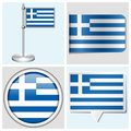 Greece flag set of sticker button label and fl various flagstaff Stock Images