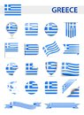 Greece Flag Vector Set Royalty Free Stock Photo
