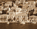 Greece. Island Symi. In Sepia toned. Retro style Royalty Free Stock Photo