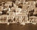 Greece. Island Symi. In Sepia toned. Retro style Royalty Free Stock Photo
