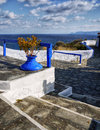 Greece islands stairs to the castle and the typical blue and white color combination on the greek Stock Photography