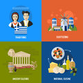 Greece Landmarks and cultural features flat banners design set Royalty Free Stock Photo