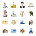 Greece Landmarks and cultural features  flat icons design set Royalty Free Stock Photo