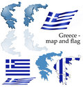 Greece - map and flag set Royalty Free Stock Photo