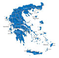 Greece map highly detailed vector of with main cities regions and roads Stock Photos