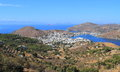 Greece patmos landscape the town in the center of the picture is skala the only port of a finnish cruise ship is at anchor Royalty Free Stock Photo