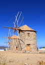 Greece patmos the mills of chora these historic windmills in have been restored are equipped with jib sails which are simple Stock Photo