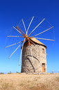 Greece patmos one of the mills of chora this historic windmill in has been restored altogether there are three windmills next to Royalty Free Stock Photo