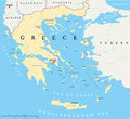 Greece Political Map Royalty Free Stock Photo