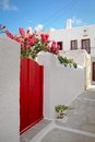 Greece red door nice on a white wall at milos island Royalty Free Stock Image