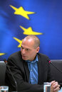 Greece's Finance Minister Yanis Varoufakis during a joint press