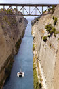 Greece sail boat crossing the corinth channel Royalty Free Stock Photography