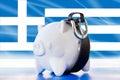 Greece savings in piggy bank tighten the belt international business Stock Images