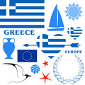 Greece set isolated objects on white background vector illustration eps Stock Photo