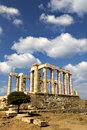 Greece temple of poseidon at cape sounio Stock Photo