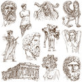 Greece traveling part collection of an hand drawings Stock Images