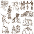 Greece traveling part collection of an hand drawings Royalty Free Stock Images