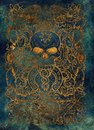 Greed. Latin word Avaritia means Avarice. Seven deadly sins, gold silhouette on blue background