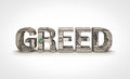 Greed money text on white background Royalty Free Stock Image