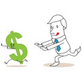 Greedy cartoon businessman chasing dollar sign vector illustration of a monochrome character after Royalty Free Stock Images