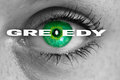 Greedy eye looks at viewer concept macro Stock Image