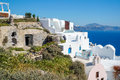 Greek Aegean island, Santorini, in the summer day, Greece Royalty Free Stock Photo