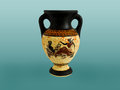 Greek amphora ancient colored with an ornament ceramic pottery for the vine and olive oil Stock Photography
