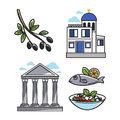 Greek architectural and food symbols isolated illustrations set