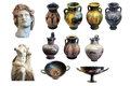 Greek art collection a of isolated ancient objects Royalty Free Stock Photos
