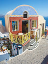 Greek bar on Santorini. Royalty Free Stock Photo