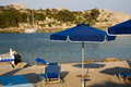 Greek beach on the isle of rodos greece Royalty Free Stock Images