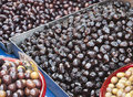 Greek black olives on a market stall Royalty Free Stock Photo