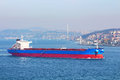 Greek bulk carrier in bosphorus istanbul turkey Royalty Free Stock Photography