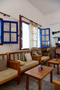 Greek cafe interior Royalty Free Stock Photo