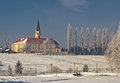 Greek catholic cathedral in snow landscape Stock Image