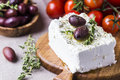 Greek cheese feta with thyme and olives Royalty Free Stock Photo