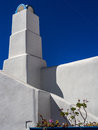 Greek chimney a simple concrete of a traditional house in pyrgos santorini Royalty Free Stock Photography