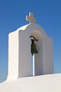 Greek church bell tower the white of a typical Royalty Free Stock Image