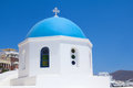 Greek church on island of santorini in oia village Stock Images