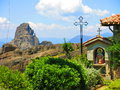 Greek church in meteora orthodox with mountains the background greece Stock Photos