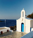 Greek church and sea Stock Photography